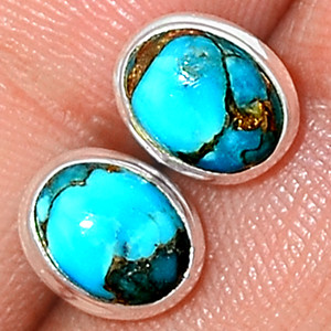 Copper Blue Turquoise 925 Sterling Silver Earrings Studs Jewelry BCTS290