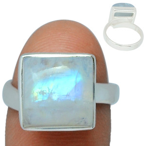 Adjustable Ring - Blue Fire Moonstone 925 Silver Ring Jewelry s.6 BFMR163