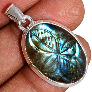 Carved Multi Labradorite 925 Sterling Silver Pendant  Jewelry CLBP388