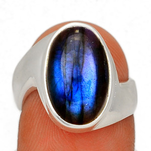 Blue Fire Labradorite 925 Sterling Silver Ring Jewelry s.6 BFLR2469