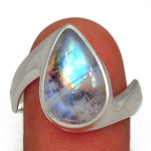 Blue Fire Rainbow Moonstone 925 Sterling Silver Ring Jewelry s.10.5 BFMR28