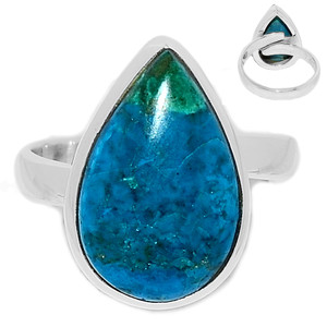 Adjustable Ring - Chrysocolla Peru 925 Sterling Silver Ring Jewelry s.8 CCPR456