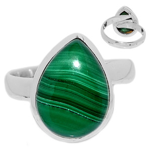 Adjustable Ring - Malachite 925 Sterling Silver Ring Jewelry s.8.5 MALR1406