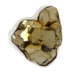 Mexican Pyrite Druzy 925 Sterling Silver Ring Jewelry s.7.5 PYDR342