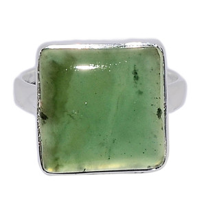 Nephrite Jade 925 Sterling Silver Ring Jewelry s.8 NFZR458