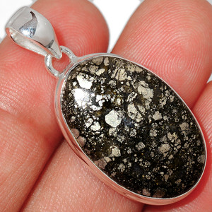 Pyrite In Agate 925 Sterling Silver Pendant  Jewelry PIAP265