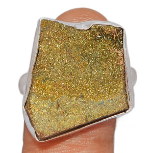 Rainbow Pyrite Druzy 925 Sterling Silver Ring Jewelry s.9 RPDR154