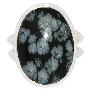 Snowflake Obsidian 925 Sterling Silver Ring Jewelry s.6 SNFR218