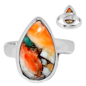 Adjustable Ring - Spiny Oyster Arizona Turquoise 925 Silver Ring s.8 SOTR962