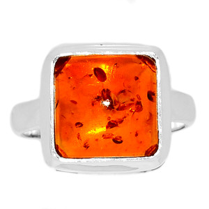 Amber 925 Sterling Silver Ring Jewelry s.7 AMBR779