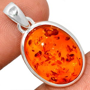 Amber 925 Sterling Silver Pendant  Jewelry AMBP888