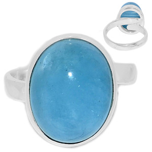 Adjustable Ring - Aquamarine 925 Sterling Silver Ring Jewelry s.7 AQMR969