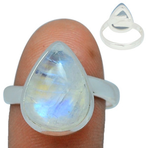 Adjustable Ring - Blue Fire Moonstone 925 Silver Ring Jewelry s.9 BFMR151