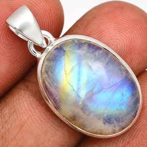 Blue Fire Rainbow Moonstone 925 Sterling Silver Pendant  Jewelry BFMP3929