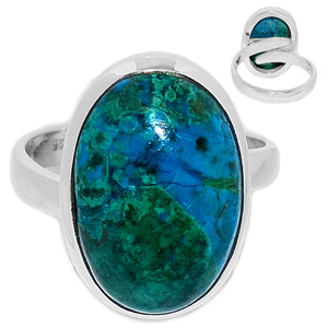 Adjustable Ring - Chrysocolla Peru 925 Sterling Silver Ring Jewelry s.8 CCPR443