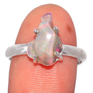 Ethiopian Opal Polish Rough 925 Sterling Silver Ring Jewelry s.8.5 EPRR284