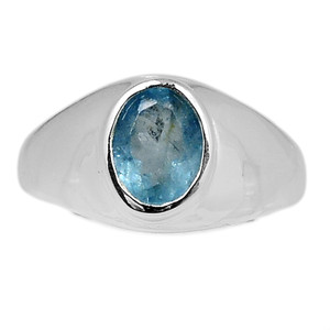 Faceted Aquamarine 925 Sterling Silver Ring Jewelry s.9.5 AQFR1435