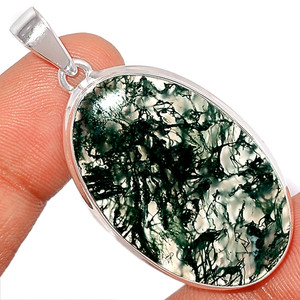 13g Moss Agate 925 Sterling Silver Pendant  Jewelry MOSP989