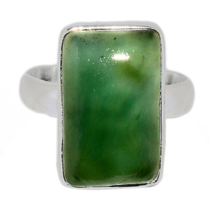 Nephrite Jade 925 Sterling Silver Ring Jewelry s.8 NFZR490