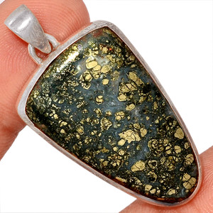 12g Pyrite In Agate 925 Sterling Silver Pendant  Jewelry PIAP242