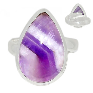 Adjustable Ring - Amethyst Lace Agate 925 Sterling Silver Ring Jewelry s.7 ALAR476