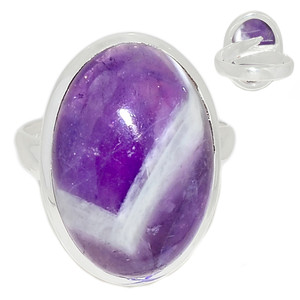 Adjustable Ring - Amethyst Lace Agate 925 Sterling Silver Ring Jewelry s.6 ALAR481