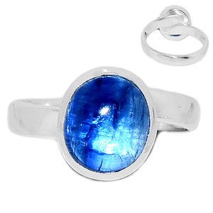 Ajustable Ring - Kyanite Cabochon 925 Sterling Silver Ring Jewelry s.6.5 KCBR100