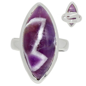 Adjustable Ring - Amethyst Lace Agate 925 Sterling Silver Ring Jewelry s.7 ALAR473