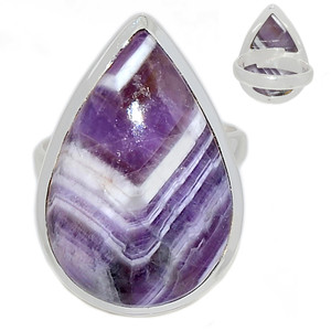 Adjustable Ring - Amethyst Lace Agate 925 Sterling Silver Ring Jewelry s.6.5 ALAR472