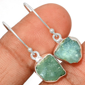 Aquamarine Rough 925 Sterling Silver Earrings Jewelry AQRE121