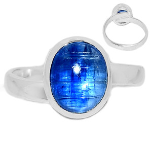 Ajustable Ring - Kyanite Cabochon 925 Sterling Silver Ring Jewelry s.9 KCBR108
