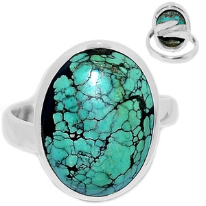 Tibetan Turquoise 925 Sterling Silver Ring Jewelry s.7 TQSR2103