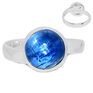 Ajustable Ring - Kyanite Cabochon 925 Sterling Silver Ring Jewelry s.8 KCBR105