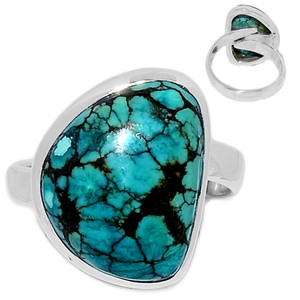 Tibetan Turquoise 925 Sterling Silver Ring Jewelry s.7 TQSR2100