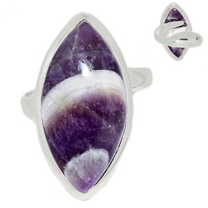 Adjustable Ring - Amethyst Lace Agate 925 Sterling Silver Ring Jewelry s.7.5 ALAR483