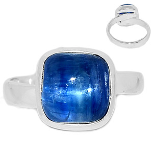 Ajustable Ring - Kyanite Cabochon 925 Sterling Silver Ring Jewelry s.7 KCBR109