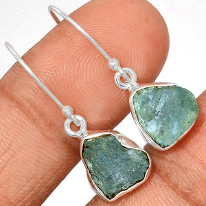 Aquamarine Rough 925 Sterling Silver Earrings Jewelry AQRE123