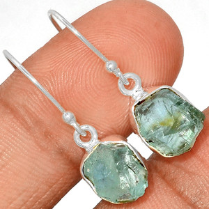 Aquamarine Rough 925 Sterling Silver Earrings Jewelry AQRE128