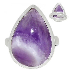 Adjustable Ring - Amethyst Lace Agate 925 Sterling Silver Ring Jewelry s.7 ALAR474