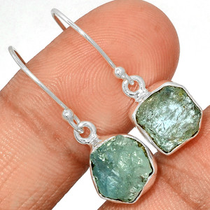 Aquamarine Rough 925 Sterling Silver Earrings Jewelry AQRE122