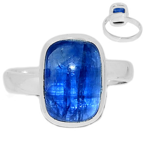Ajustable Ring - Kyanite Cabochon 925 Sterling Silver Ring Jewelry s.8.5 KCBR104