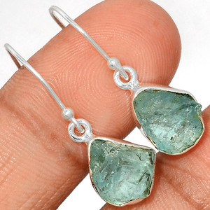 Aquamarine Rough 925 Sterling Silver Earrings Jewelry AQRE115