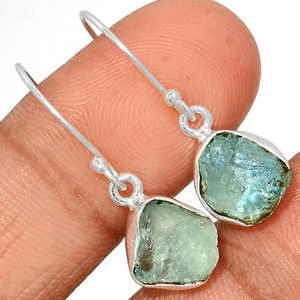 Aquamarine Rough 925 Sterling Silver Earrings Jewelry AQRE127