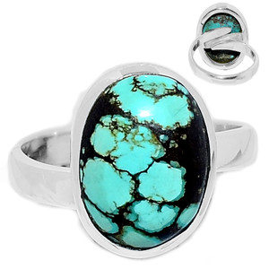 Tibetan Turquoise 925 Sterling Silver Ring Jewelry s.7 TQSR2104
