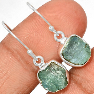 Aquamarine Rough 925 Sterling Silver Earrings Jewelry AQRE120