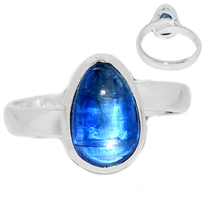Ajustable Ring - Kyanite Cabochon 925 Sterling Silver Ring Jewelry s.8 KCBR103