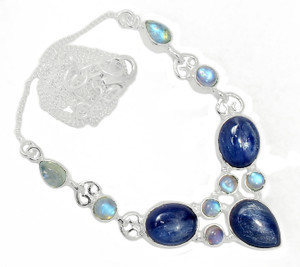 16g Solid 925 Sterling Silver Kyanite - Brazil & Moonstone Necklace SN18477