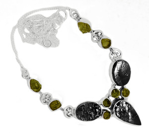 14g Solid 925 Sterling Silver Russian Shungite & Moldavite Necklace SN18461