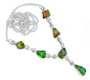 Solid 925 Sterling Silver Ethiopian Opal Rough Necklace SN18448