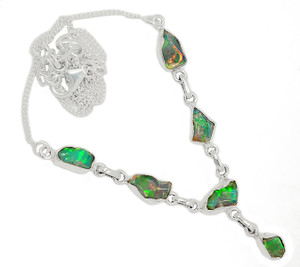 Solid 925 Sterling Silver Ethiopian Opal Rough Necklace SN18450